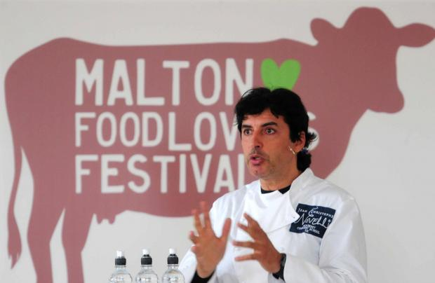Gazette & Herald: Jean-Christophe Novelli talks to the crowds at the Malton Food Lovers Festival.