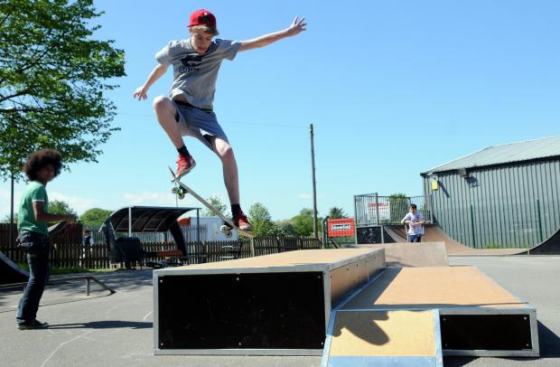 Gazette & Herald: Iain Kerr shows off his skateboarding skills on the new equipment at Malton and Norton Skate Park.