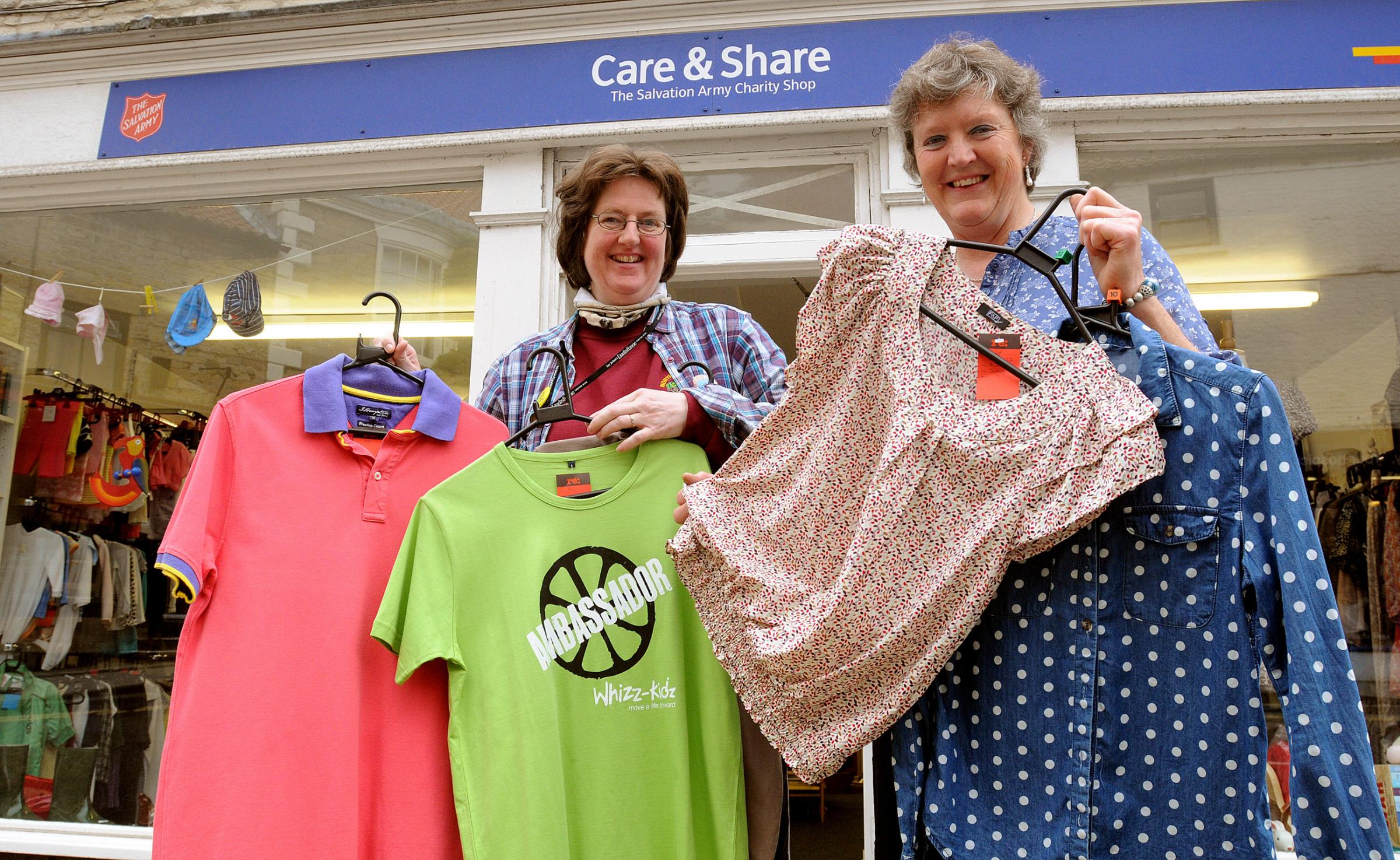 : Salvation Army volunteers Sarah Baigent, left, and Alison Boyle launch the appeal