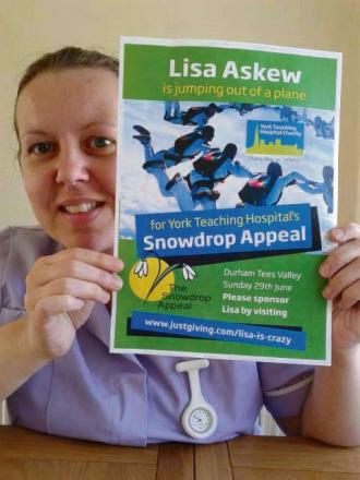 Lisa Askew is taking on a skydive in aid of the Snowdrop Appeal
