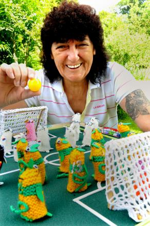 Sue Hoggard of North Grimston with her knitted World Cup football match.