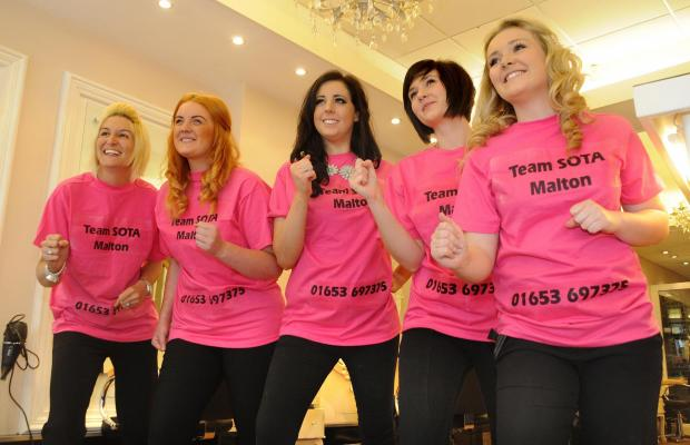 Gazette & Herald: Members of the SOTA salon in Malton who are taking part in the Race For Life. Pictured from the left are Kirsty Sawdon, Catherine Robinson, Zoe Watson, Vicky Ashton and Mica Jennison.