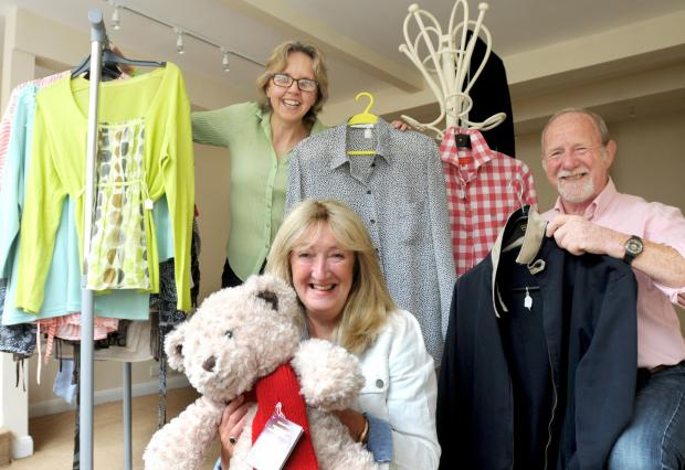 Gazette & Herald: Malton & Norton Rotary Club are holding a charity shop  on Saturday 28th June  (l-R), Faye Young (Fitzwilliam Estate ), Janice Pritchard  and Paul Pritchard  (Rotary Club)