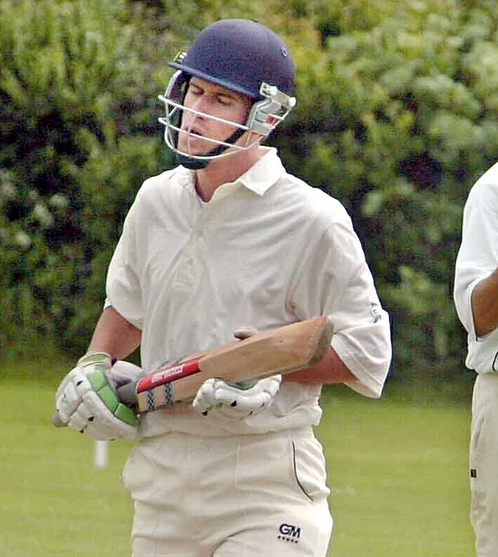Back to back emotions as Sheriff Hutton Bridge batsman  Dave Coverdale (left) is bowled LBW by Easingwold bowler Jason Sargeant.