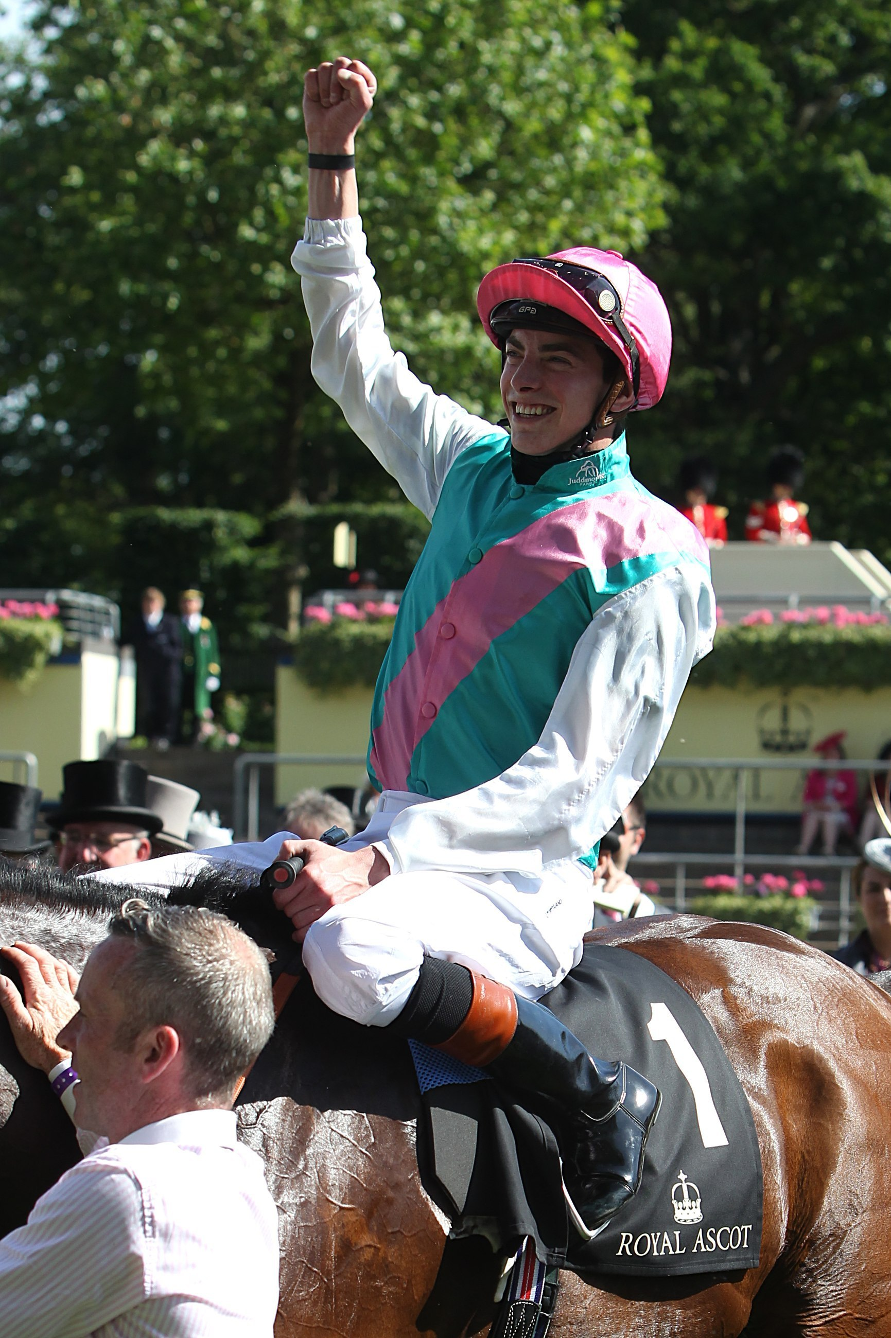 Jockey James Doyle atop Kingman after winning the St James's Palace Stakes
