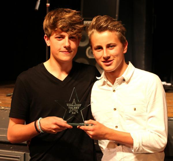 Talent show winners Zac Woolley and George Ullyot, who write and perform their own songs, and are about to have an EP released, with their trophy at Ryedale's Got Talent