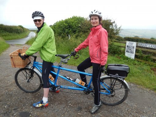 Tandem riders Ian Newall from Harrogate and Angela Rickards from Wetherby who are taking part in the Yorkshire Wolds Cycle Challenge at the weekend.