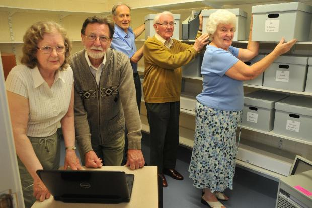 In the new village archive room at the Sheriff Hutton village hall are from the left Margaret Thompson, Chris Thompson, Peter Brown, John Hendry and Beryl Haigh.