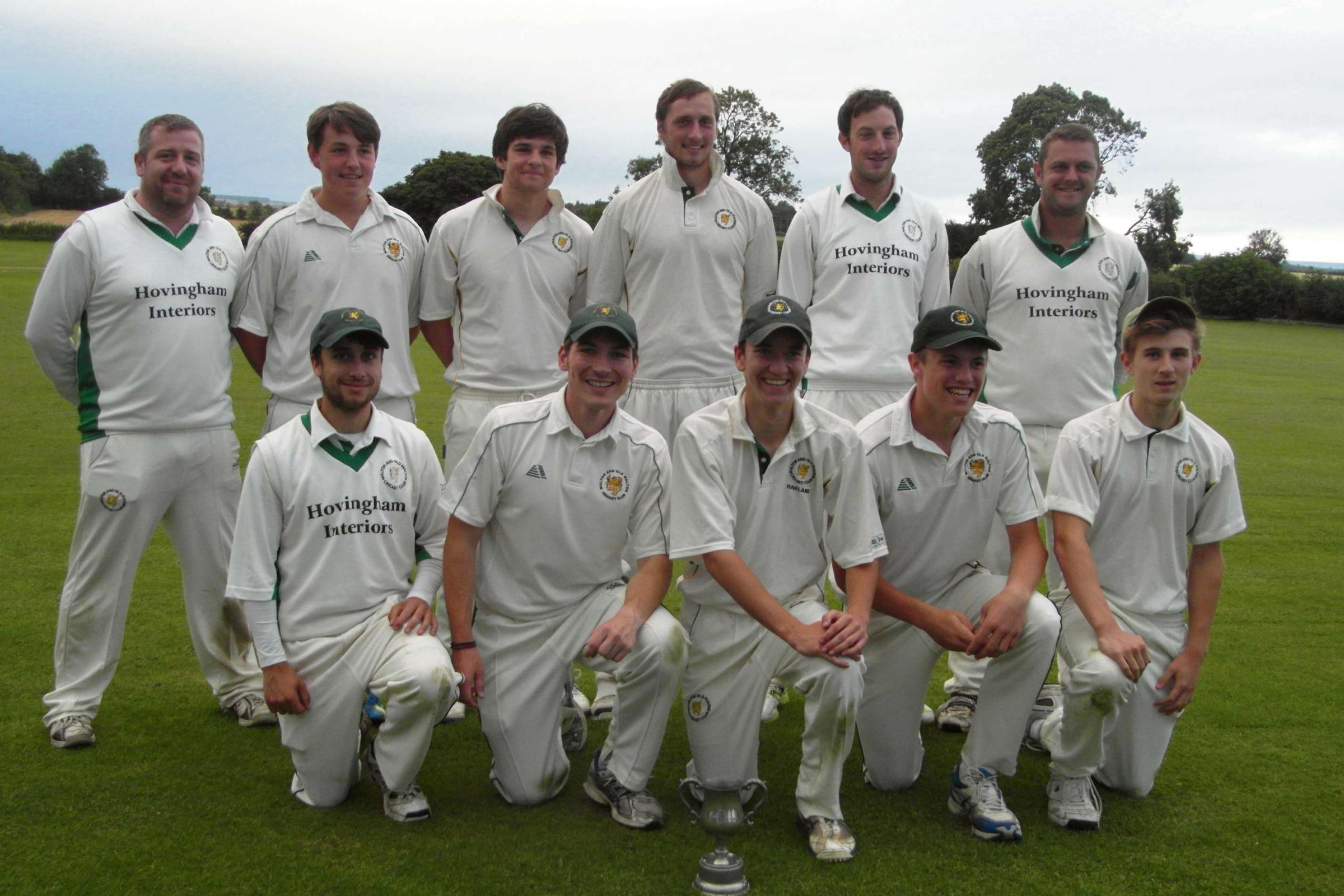 Division One Cup winners Malton & Old Malton. Back row, from left to right: Stuart Watmore, Toby Sercombe, Josh Raines, Stephen Linsley, Jimmy Baxter, Wayne Dawson. Front, from left: Tom Audsley, Daniel Foxton, Shaun Harland, Ryan Gaughan, Oliver Varey