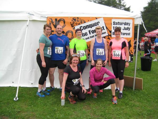 Pickering Running Club members at the No Ego Challenge. From left to right: Lucie Pulling, Simon Thompson, Corrie Robertson, Sally Steadman, Sally Raines. Front: Ailish Lilley, Lisa Bolland