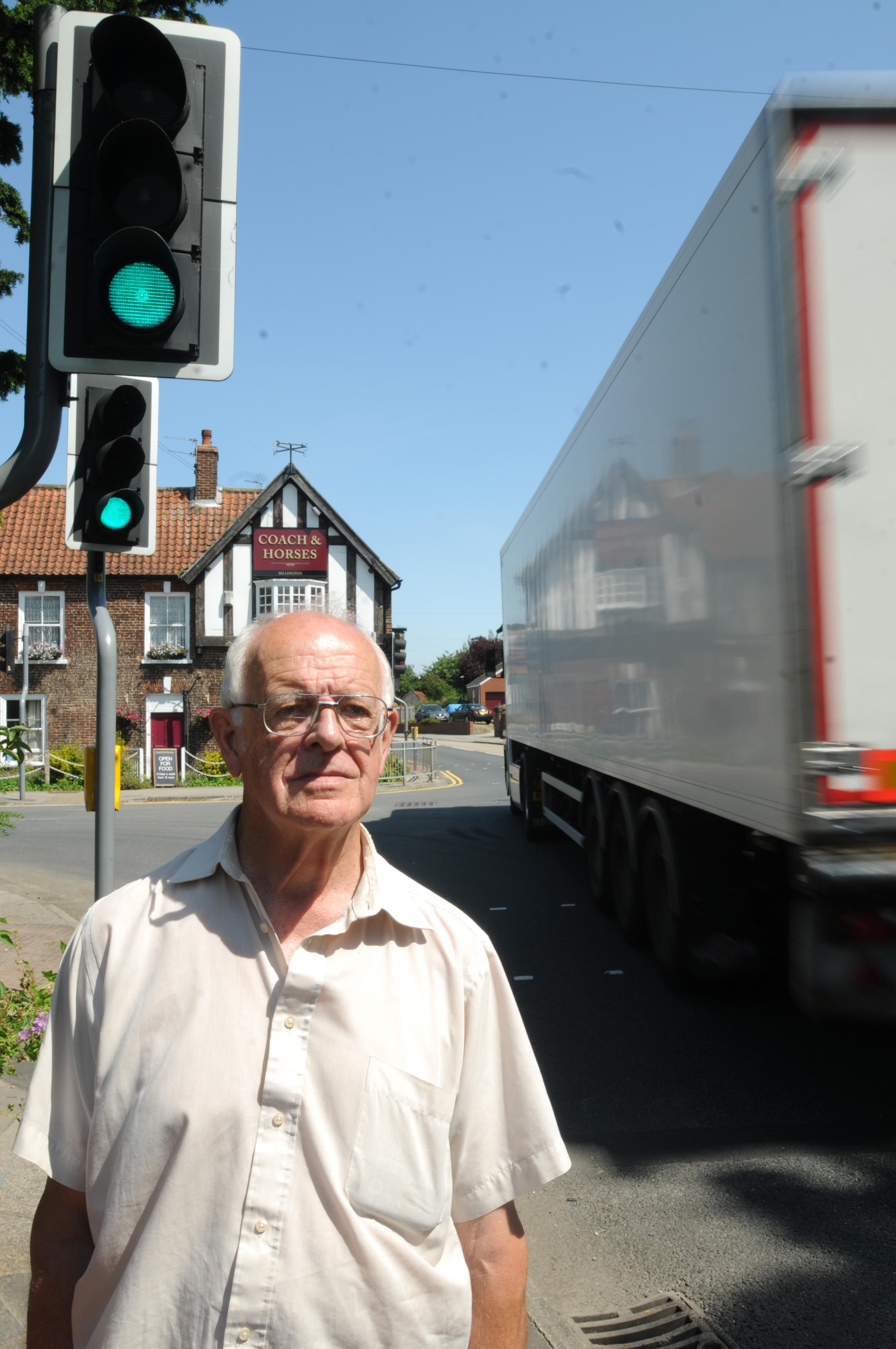 Colin Wicks, who is concerned  about lorries queing at the traffic lights in Rillington