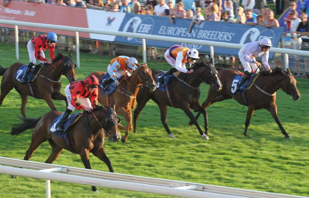 Anderiego, left, from David O'Meara's in-form yard, wins the Sky Bet Supporting The Yorkshire Racing Festival Stakes