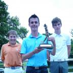 Gazette & Herald: York Union of Golf Clubs Junior Championship winner David Hague, centre with the trophy, flanked by runner-up Matthew Roberts, left, and Simon Morley, right
