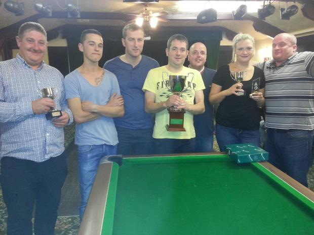 Royal Oak 'A' along with ladies' individuals winner Kirsty Jeffels, second right, are pictured, from right to left: Dougie Pauley (men's individual winner), Spencer Ward, Chris Seager, James Milson (captain), Mark Jeffels, Taylor, Jamie Barstow.