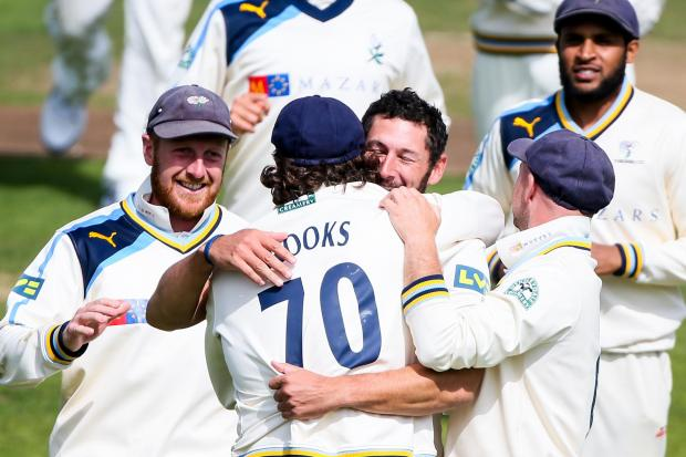 STRIKE BOWLER: Yorkshire's Tim Bresnan is congratulated on the wicket of Sussex's Luke Wright during this week's crucial County Championship win at Scarborough. Picture:  Alex Whitehead/SWpix.com