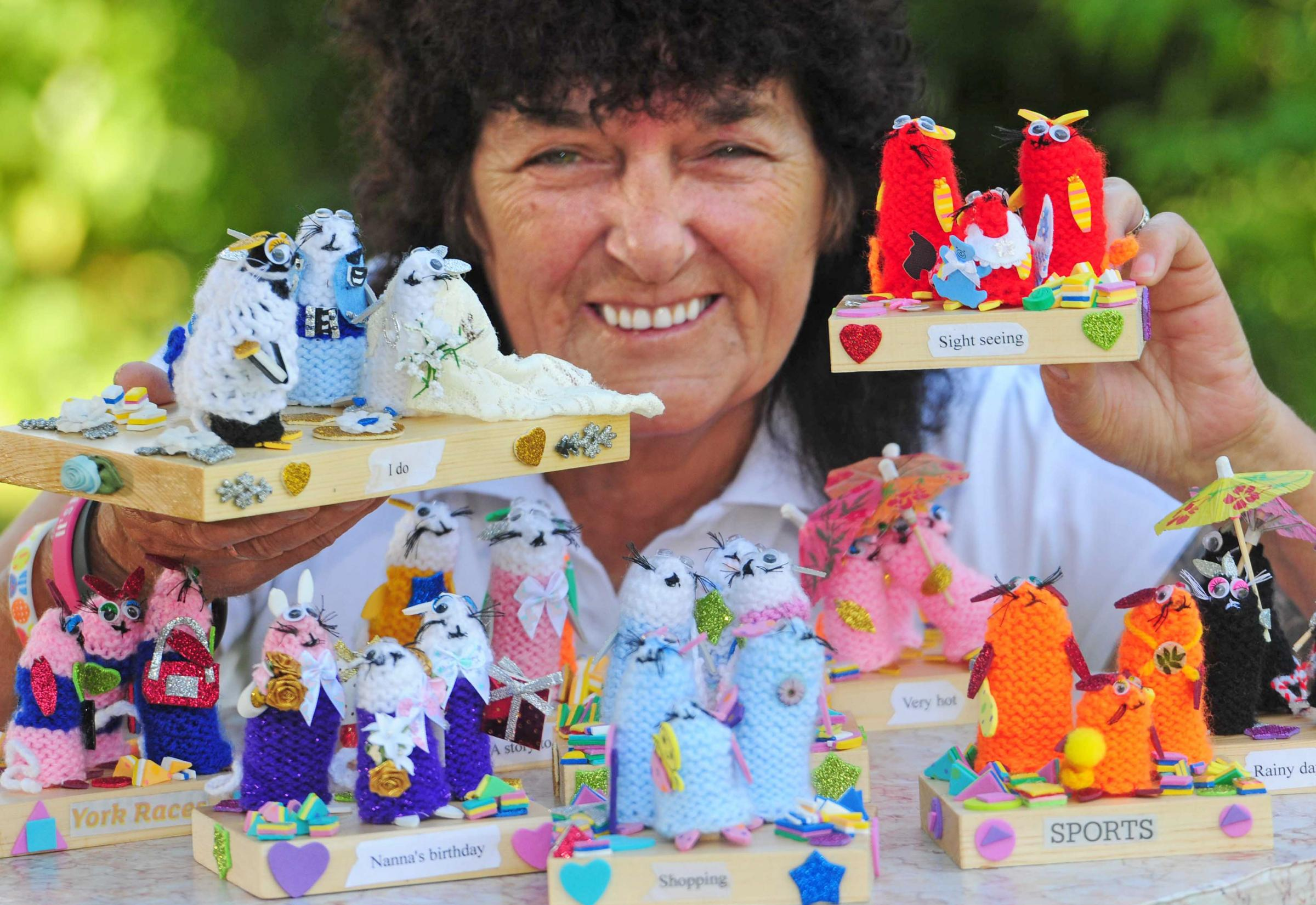 Sue Hoggard with her knitted mice