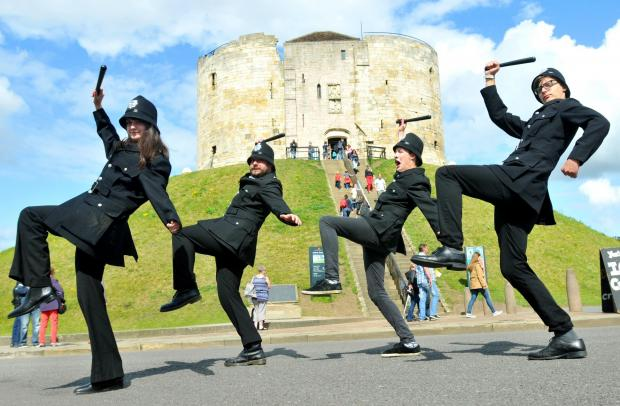 The Keystone  Cops arrive in York on their promotional tour for the Galt