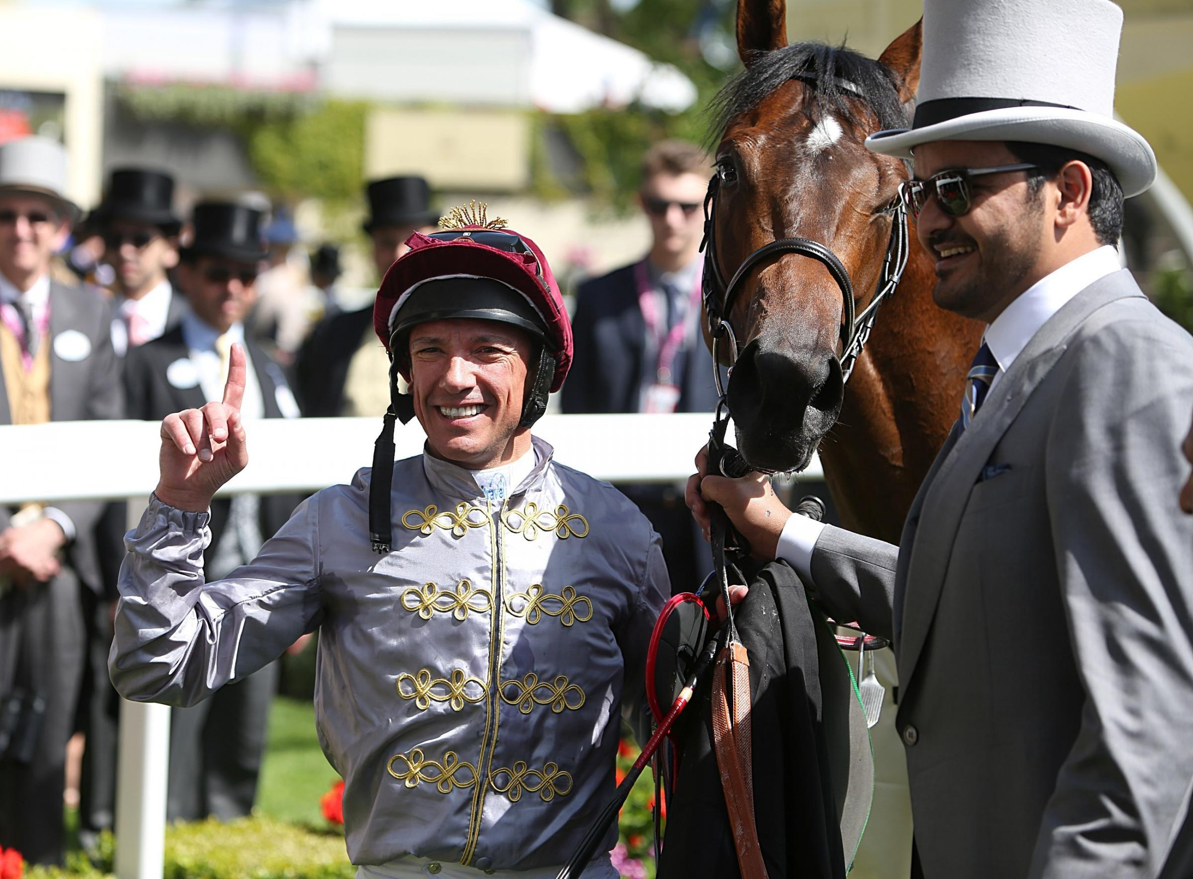 Frankie Dettori celebrates in the winners enclosure after winning the Coventry Stakes on The Wow Signal