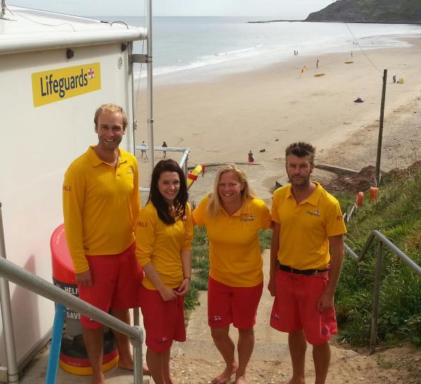 RNLI lifeguards at Cayton Bay, from left, Chris Ireland, Becky Cox, Helen Peterson and Tim Machon.  Picture: RNLI