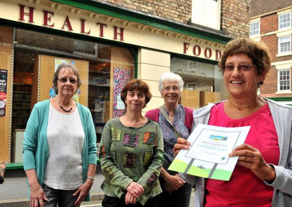 Janice Gwilliam, right, with her colleagues from Malton and Norton Fairtrade group, from left, Chris Smith, Helen Morgan and Alison Hardwick