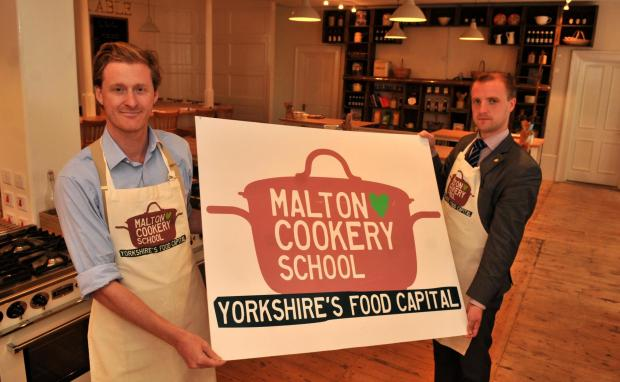 Tom Naylor-Leyland and David Macdonald (right) at the new cookery school in Malton.