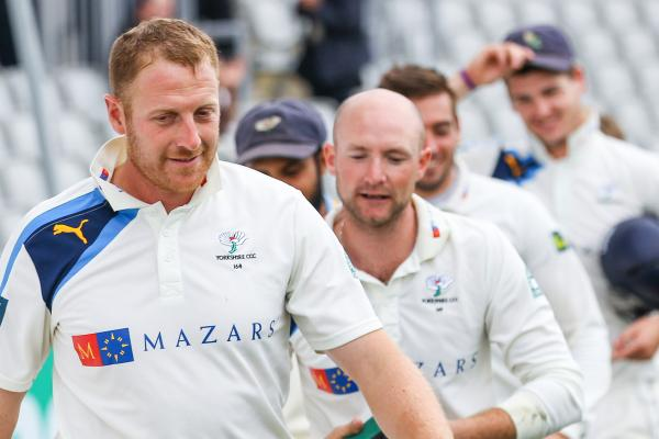Yorkshire captain Andrew Gale leads his side off the field after the victory against Lancashire only to learn he will miss the last two games of the club's County Championship campaign.		               Picture: Alex Whitehead/SWpix.com