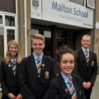 Gazette & Herald: TOP TEAM: From left, deputy head girl Rachel Allen with head boy Robert Ingram, head girl Merrie Barnet and deputy head boy Luke Crosier at Malton SchoolPicture: Nigel Holland