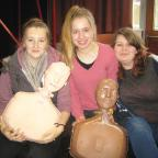 Gazette & Herald: Year 12 pupils at Lady Lumley's School in Pickering Lucy Rose, Charlotte Scott, Kim Fenwick, who took part  in a national campaign to teach life-saving skills.