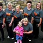 Gazette & Herald: Members of House Martin's Day Nursery, Malton who took part in a sponsored assault  course challenge in aid of April Benton (pictured)   (L-R), Julie Twamley, Julie Smith, Audrey Wilson, Emma O'Dwyer, Amy King and Amanda Beecham   Picture : Frank