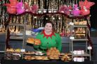 Emma Sumner dished up home made specialities made by Malton Relish at Malton Christmas Market.