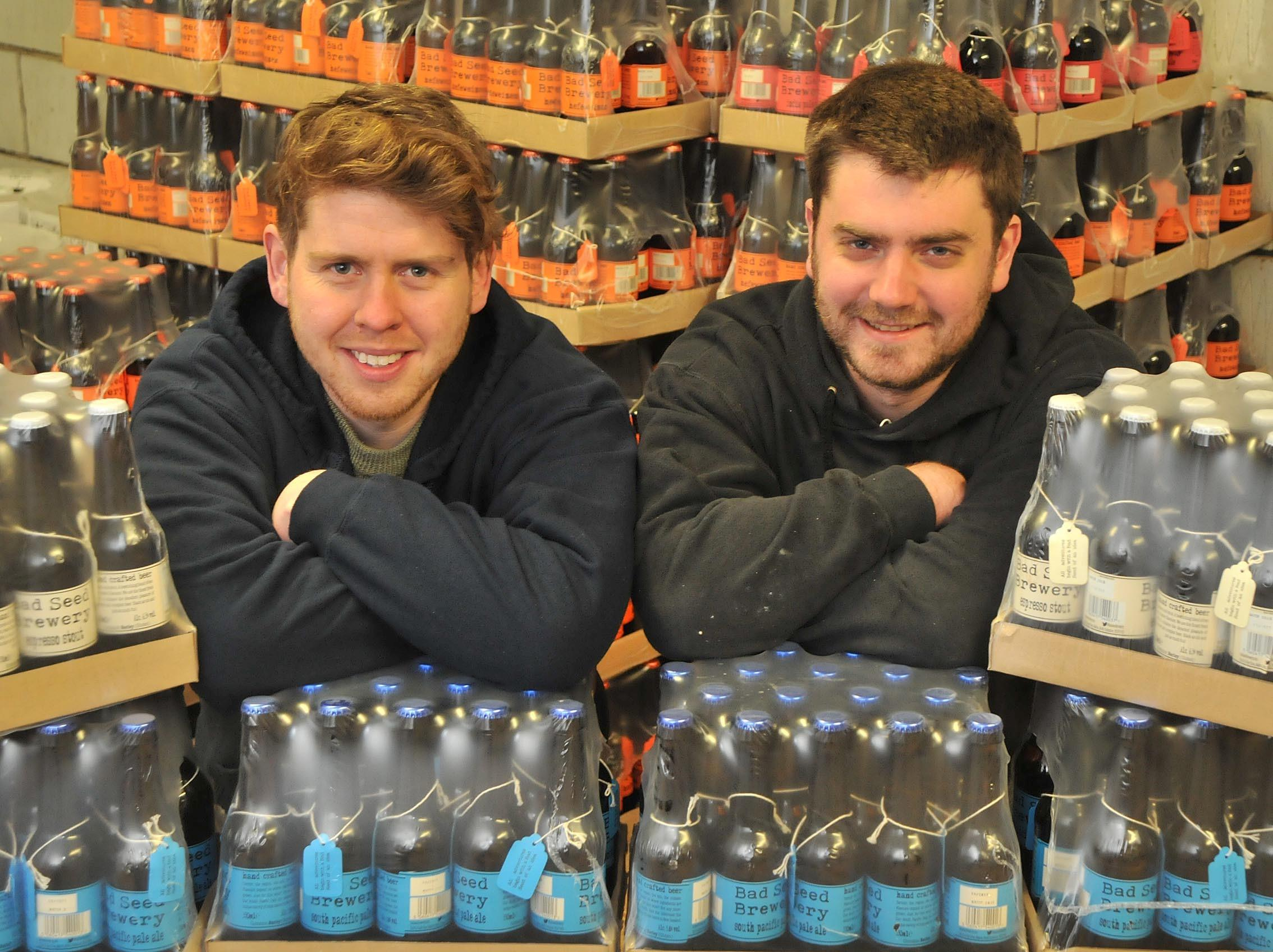 Chris Waplington, left, and James Broad, of Bad Seed Brewery, which will have its beer sold in Tate Modern and Harvey Nichols