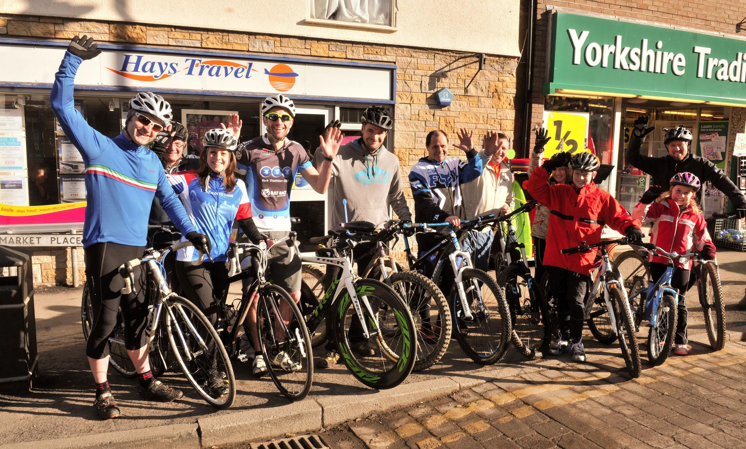Cyclists from Pickering who are supporting the Tour de Yorkshire