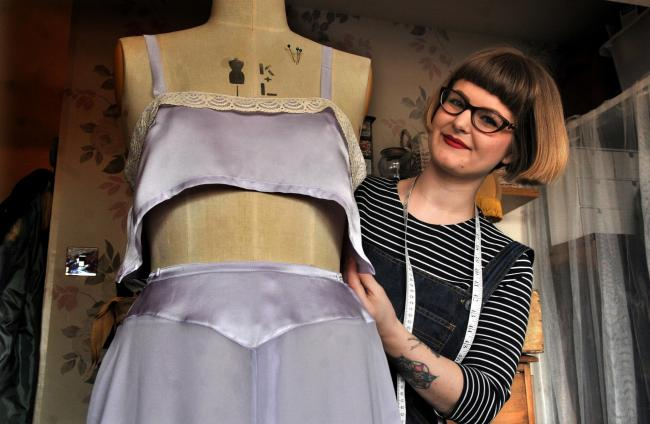 Ellis Stansfield at work in her studio in Norton where she has been creating vintage lingerie