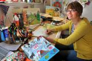 Artist Amy Husband in her studio at Yapham, near Pocklington, where she drew the illustrations for the new children's book, The Story Of Life