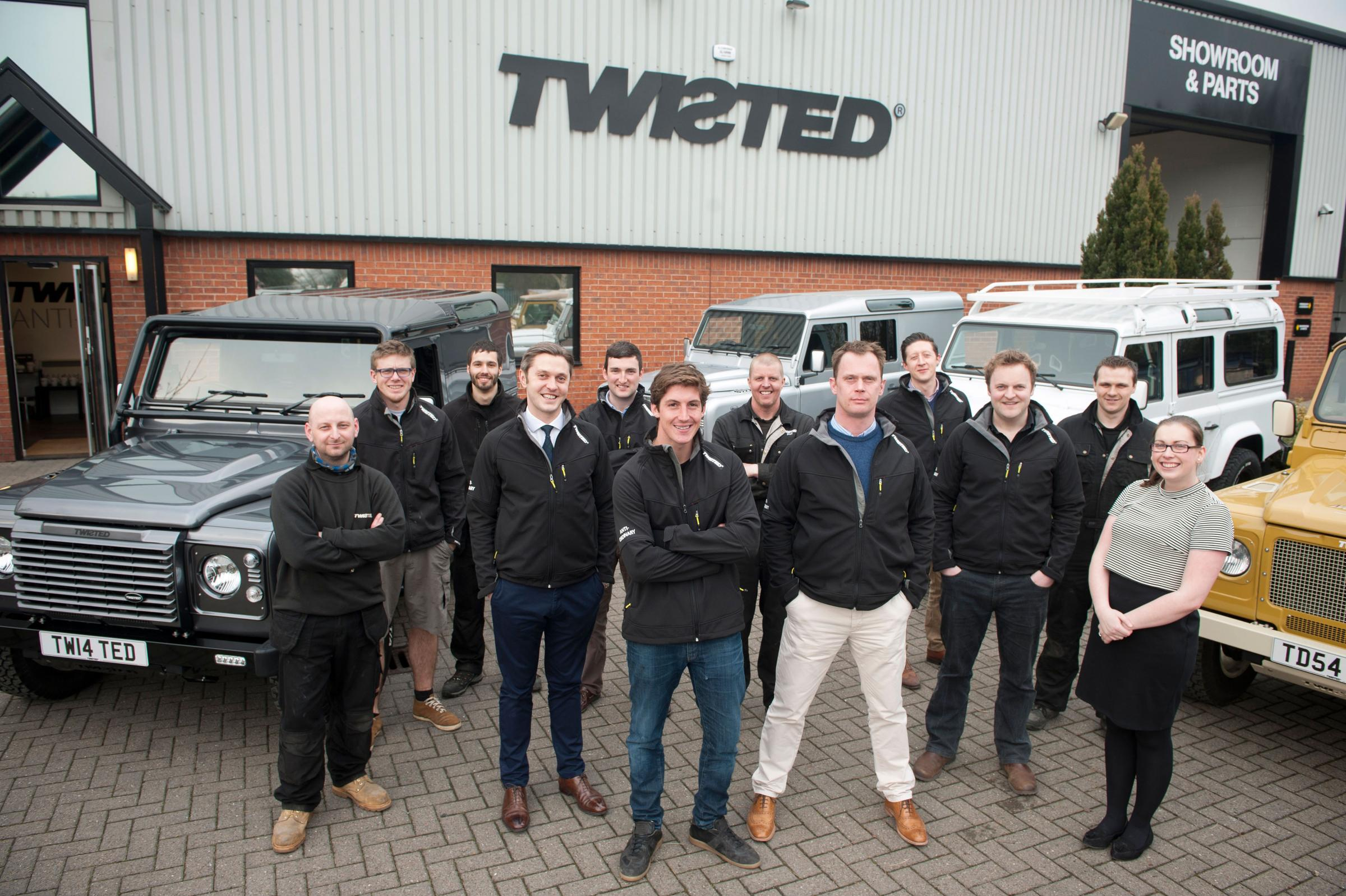 Front row, centre, from left to right are Alex Duckett, operations director, George Meyrick, England international Polo player and Twisted brand ambassador, and Charles Fawcett, managing director of Twisted