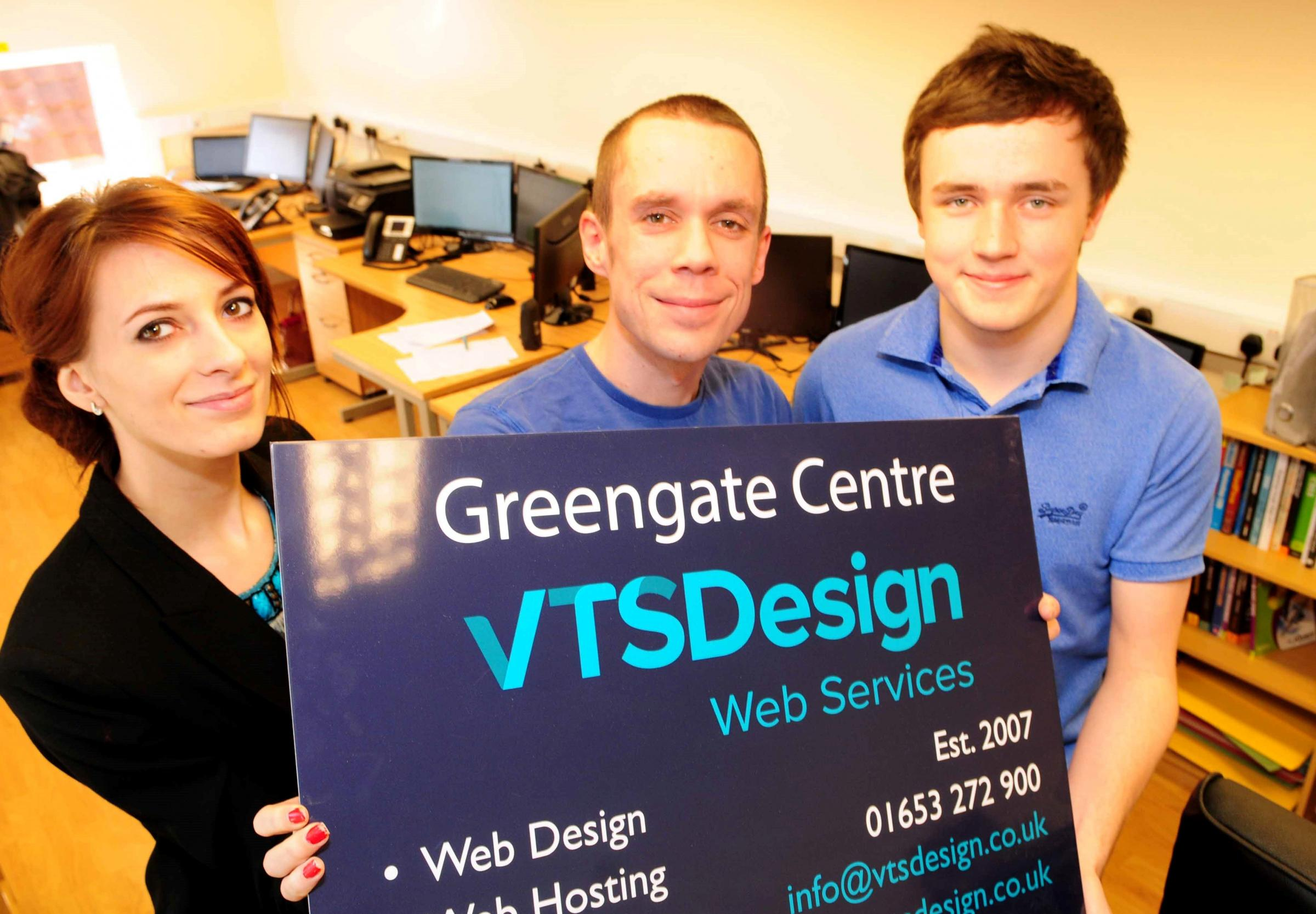 Martyna Swies, Mark Foster and Bradley Train of VTS Design celebrate moving in to their larger premises in Malton