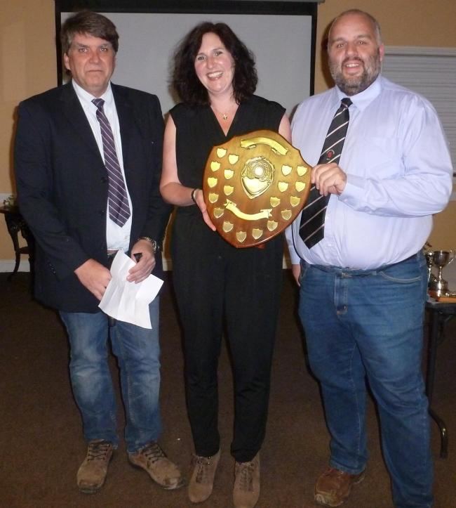 Charles Wrightson awards the Dennis Cobbold shield to Clare Finlinson, Malton & Norton safeguarding officer, and deputy safeguarding officer Ian Hepworth