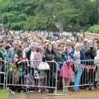 Gazette & Herald: A large crowd of loyal royal fans near the area around the Church of St Mary Magdalene in Sandringham, Norfolk