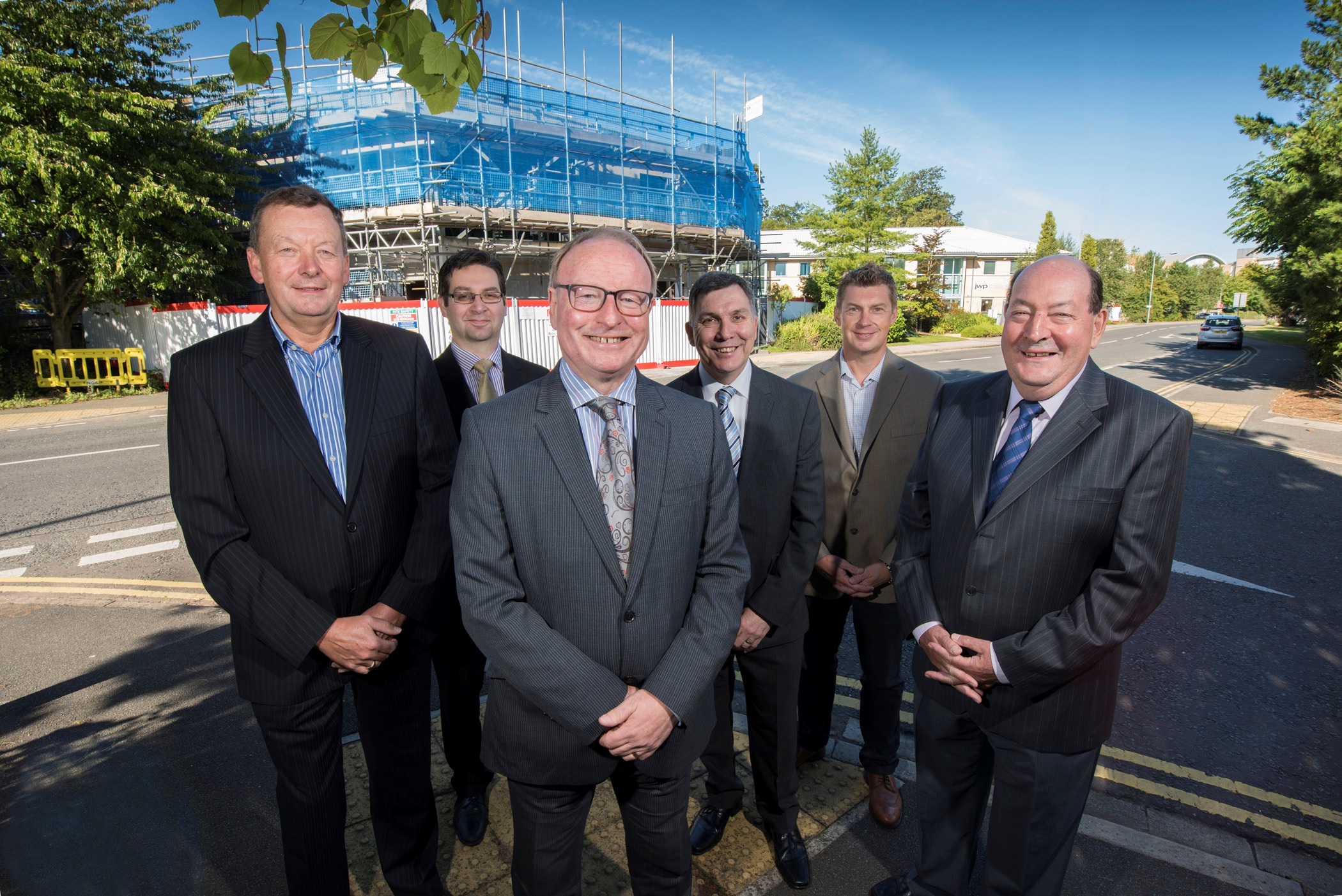 From left: Howard Rogers of Appledorn Developments, Nick Scott of Andrew Jackson Solicitors, Tony Farmer of JWPCreers,  Brian de Vere of Yorkshire Bank, Paul Hughes of Appledorn and Maple Court developer Tony Gray.