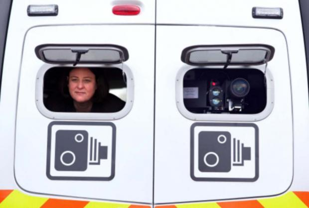 Julia Mulligan keeps watch from a safety camera van.