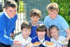 Leavening School pupils with some of the new plates and dishes the school has introduced along with a new menu and a new healthy tuck shop      Picture: David Harrison