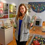 Gazette & Herald: Claire Sawdon with some of the artefacts on display at Malton Museums latest exhibition Malton Goes To Market   Picture: Nigel Holland
