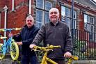 Deputy Town Clerk Tim Hicks (right) and Ray King make an appeal for old bikes  for the Tour de Yorkshire at Norton Town Council.Pic Nigel Holland.