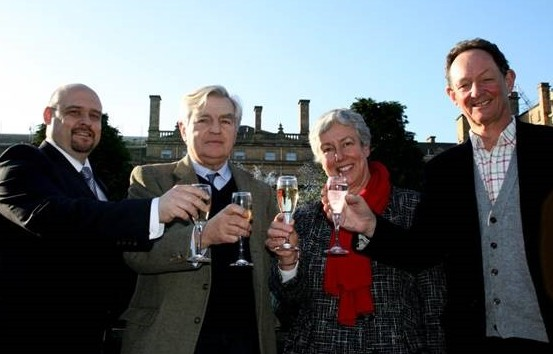 From left, manager of The Principal York Hotel Christo Botha, Lord Middleton of Birdsall, CLA director North Dorothy Fairburn, and Charles Forbes Adam of Escrick at The Principal York Hotel toasting to the 110th birthday of the CLA