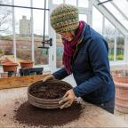 Gazette & Herald: Left and below, Helen Fletcher preparing for and seed sowing at Helmsley Walled Garden, as the cold weather forces her inside
