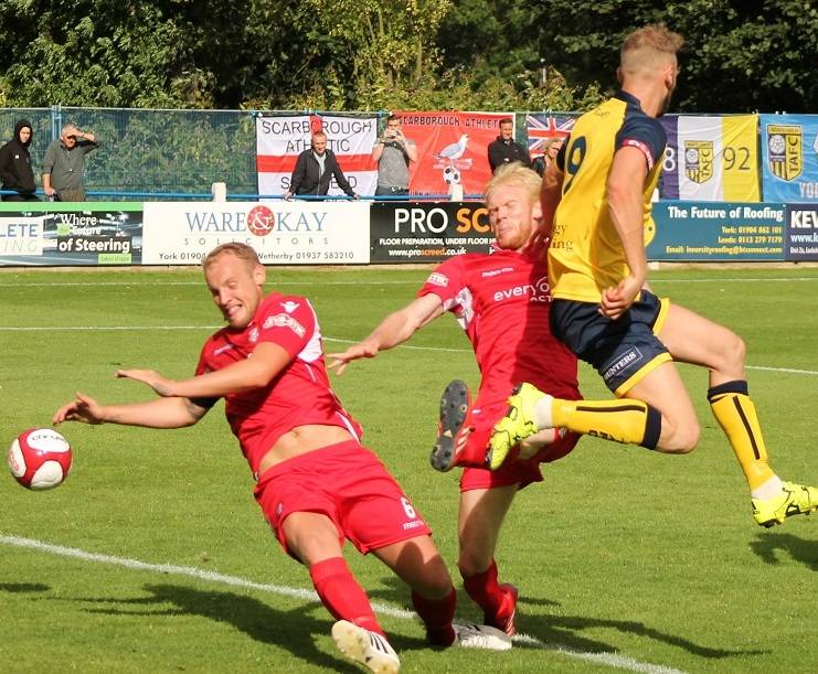 Scarborough Athletic in action against Tadcaster Albion earlier this season in the FA Cup.