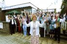Cllr Elizabeth Shields, front, leads the cheers at the official opening of Norton Hive Library and Community Hub    Picture: Richard Doughty