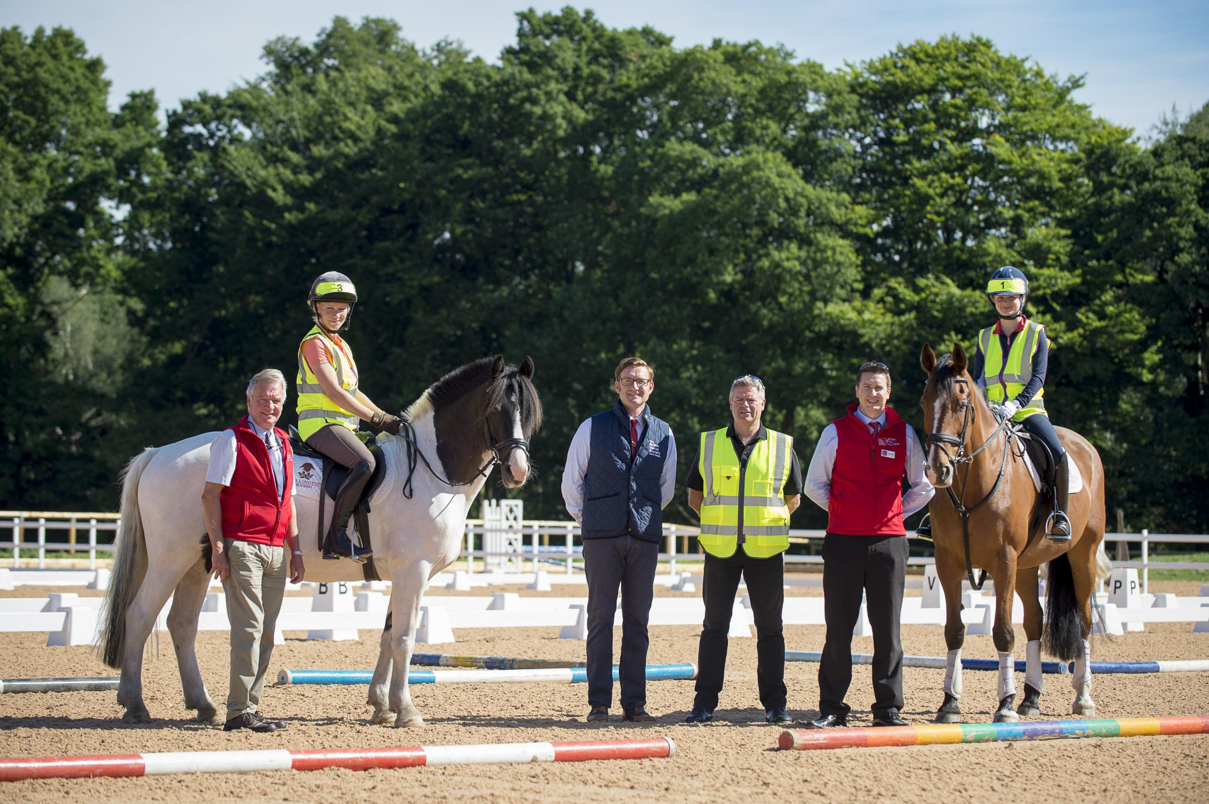 From left, International coach Yogi Breisner FBHS, broadcaster Lizzie Greenwood-Hughes, BHS Chairman David Sheerin BHSI, BHS Director of Safety Alan Hiscox, Director of Education Alex Copeland and International dressage champion Phoebe Peters attend the l