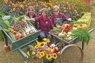 Heather Thomas,Emma Bowker and Fiona Horsley with some of the produce on display at Helmsley Walled Gardens exhibition. Picture: Nigel Holland.