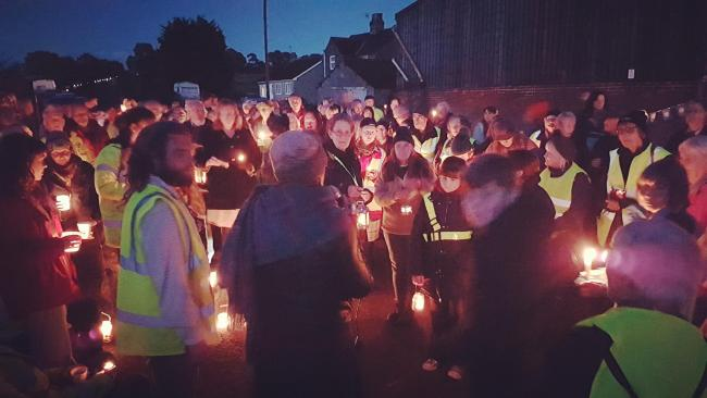 Candle-lit vigil held at Kirby Misperton last night. Picture: KM Protectors Group